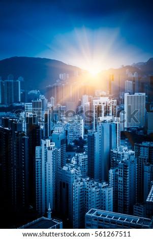 Hong Kong apartment block in China. #561267511