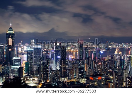 Hong Kong at night #86297383