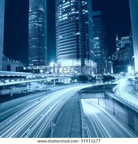 Hong Kong at night and modern buildings
