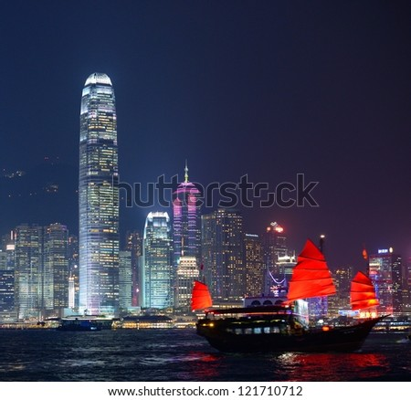 Hong Kong at night from across Victoria Harbor