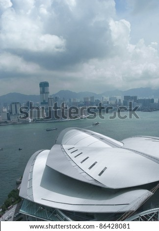 HONG KONG-AUGUST 24:Hong Kong Convention and Exhibition Centre (HKCEC, foreground) in Hong Kong on August 24, 2007. The original building was built on reclaimed land off Gloucester Road in 1988.