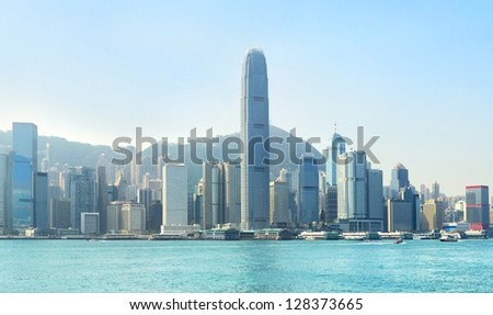 Hong Kong business center with a clear blue sky