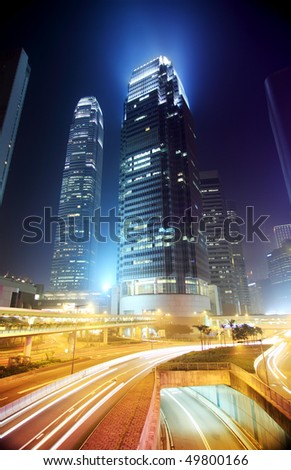 hong kong business district at...