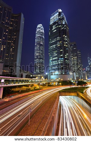 Hong Kong business district at night in rush hour
