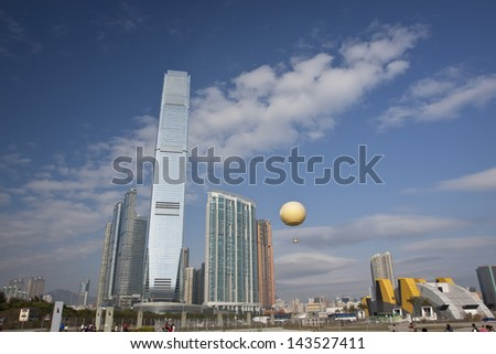 HONG KONG, CHINA- AUG12: The International Commerce Centre (ICC Tower) is a 118-storey, 484 m (1,588 ft) skyscraper completed in 2010 in West Kowloon on August 12, 2011 Hong Kong,China