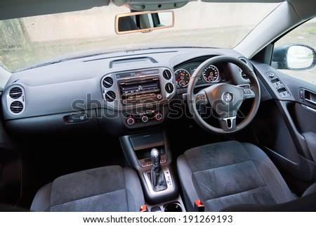 Hong Kong, China Aug 14, 2013 : Volkswagen Tiguan SUV 2013 Model interior on Aug 14 2013 in Hong Kong. #191269193