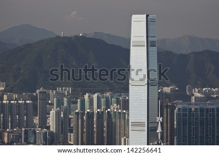 HONG KONG, CHINA-AUGUST 12: The International Commerce Centre is a 118-storey, 484 m (1,588 ft) skyscraper completed in 2010 in West Kowloon on August 12, 2011 Hong Kong,China