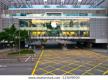 HONG KONG, CHINA - DEC 30: Apple store on December  30, 2012 in Hong Kong, China. It is the world largest publicly traded company designs and sells consumer electronics and computer products.