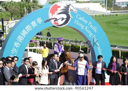 HONG KONG, CHINA - DEC. 11: D. Beadman wins the Cathay Pacific Hong Kong Vase during the International Horse Race on Dec. 11, 2011 in Hong Kong, China.