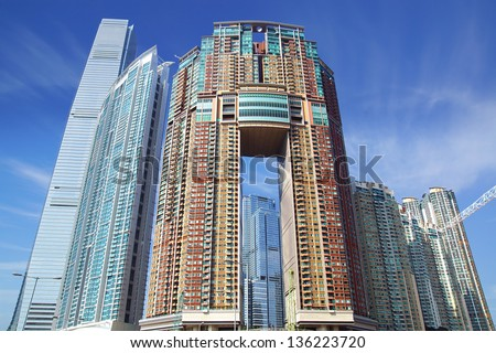 HONG KONG, CHINA - DECEMBER 13: The International Commerce Centre (Sky 100 Tower), Arch and The Harbourside viewed from inside the Union Square on December 13, 2012 Hong Kong, China.