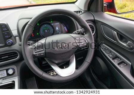 Hong Kong, China Feb 25, 2019 : Hyundai KONA EV 2019 Wheel Feb 25 2019 in Hong Kong. #1342924931