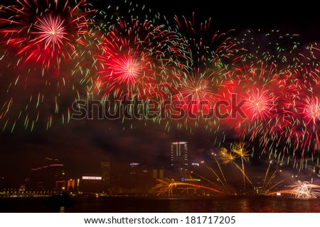 HONG KONG, CHINA - FEB 02, 2014: Lunar New Year Fireworks along Victoria Harbor in Hong Kong. This is an annual event in Chinese New Year.