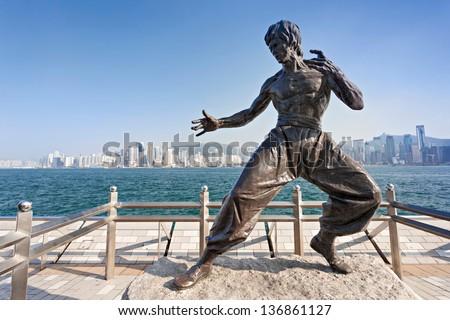 HONG KONG, CHINA - FEBRUARY 21: Bruce Lee statue at the Avenue of Stars on February, 21, 2013, Hong Kong, China.