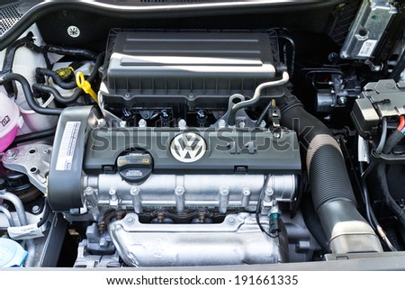 Hong Kong China Jan 3 2014 Volkswagen Polo 2014 Model engine on March 3 2014 in Hong Kong