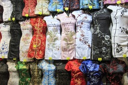 Hong Kong - China, 14 January, 2016: Traditional Hong Kong attire for sale in Temple Street, Hong Kong