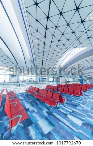 Hong Kong, China -  May 30,2017 : departure Hall in Hong Kong International Airport. Hong Kong International Airport handles more than 70 million passengers per year. stock photo
