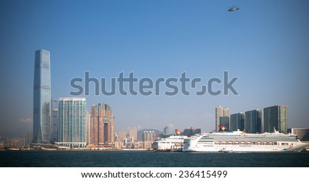 HONG KONG, CHINA - NOV 20:International Commerce Centre on Nov, 20, 2014, Hong Kong,It is the tallest building in Hong Kong.