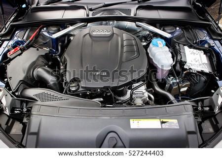 Hong Kong China Oct 26 2016 Audi A4 Avant 45 Tfsi Quattro Engine