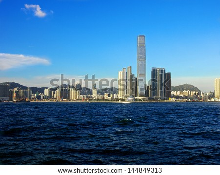 HONG KONG, CHINA-SEPTEMBER 9: A view of the ICC (International Commerce Centre) in West Kowloon and some of the surrounding area on September, 9 2012 Hong Kong, China
