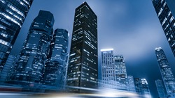 Hong Kong city building facade at night