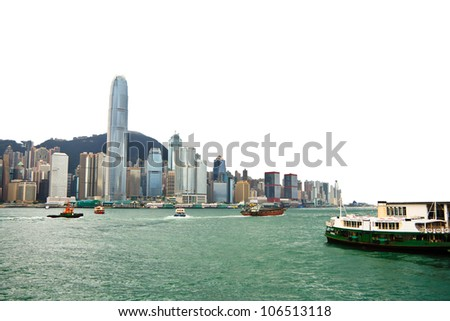 Hong Kong City Day View Isolated Background - stock photo