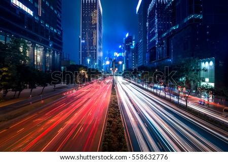 Hong Kong City street view at night in Wan Chai #558632776