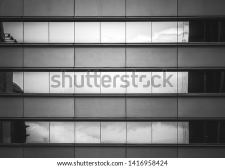Hong Kong Commercial Building Close Up, Black and White style #1416958424