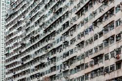 Hong Kong  - December 9, 2019 : Crowded of Narrow Apartment Rooms of Hong Kong Housing Estate Building at Fok Cheong Building near Tai Koo MTR Station, Hong Kong Island
