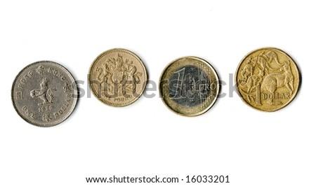 Hong Kong Dollar, Uk Pound, Euro Coin And Australian Dollar Stock Photo 16033201 : Shutterstock