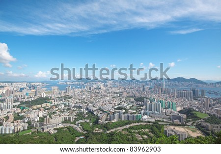 Hong Kong downtown and blue sky