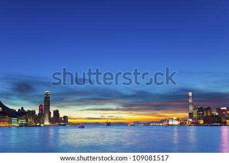Hong Kong downtown at sunset