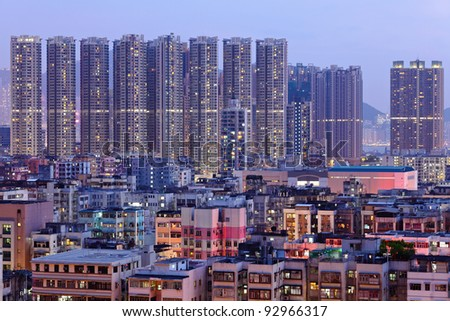 Hong Kong downtown with many building at night
