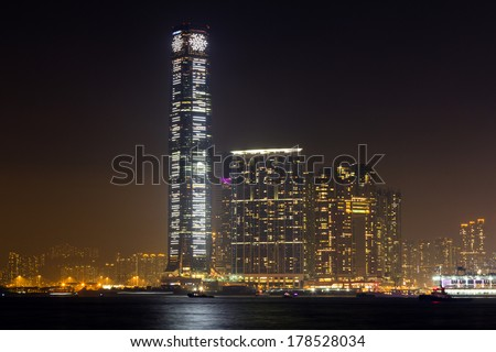 HONG KONG - FEB 24, 2014: Night View of International Commerce Centre Building in Hong Kong. It is a 118-storey, 484 m (1,588 ft) commercial skyscraper completed in 2010 in West Kowloon, Hong Kong.