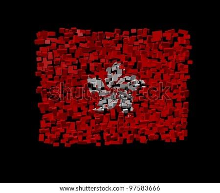 Hong Kong flag on blocks illustration