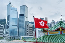 Hong Kong Flag with urban background