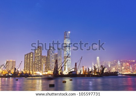Hong Kong harbor at sunset