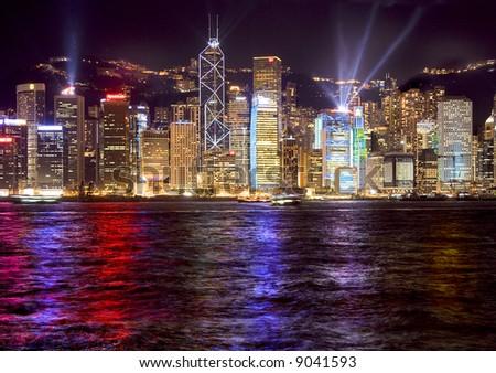 hong kong harbour laser light show