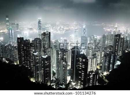 Hong Kong island from Victoria's Peak at night - stock photo