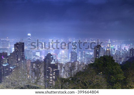 Hong Kong island from Victoria's Peak at night Bokeh blurred background.