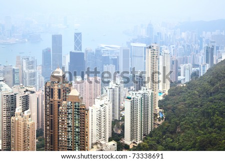 Hong Kong island, view from Victoria Peak