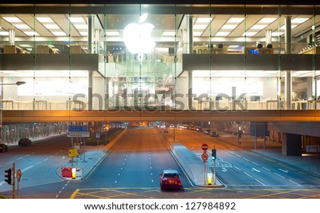 HONG KONG - JANUARY 21: Apple store at night on January 21, 2013 in Hong Kong. In 2012, Apple sold 172 million iPods, iPhones and iPads, These devices making up total of 76-percent of Apple's revenue