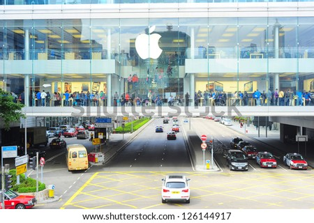 HONG KONG - JANUARY 21: Apple store on January 21, 2013 in Hong Kong. In 2012, Apple sold 172 million iPods, iPhones and iPads, These post-PC devices making up a total of 76-percent of Apple's revenue