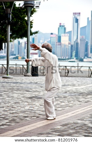 HONG KONG - JANUARY 8: Tai Chi Public Exercising in early morning at January 08, 2010 in Hongkong.  The old teacher teaches younger people to learn Tai Chi in the harbor area to keep tradition alive.