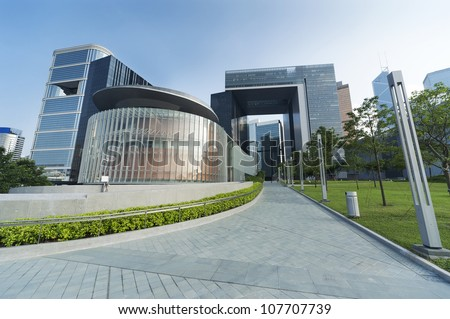 HONG KONG - JUNE 28:Central Government Complex on June 28,2012 in Hong Kong. Located at the Tamar site and construction completed in 2012.