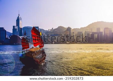 hong kong junk boat and...