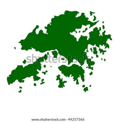 Hong Kong map isolated on white background.