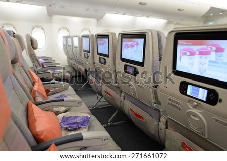 Royalty free hong kong may 12 2016 inside of for Airbus a380 emirates interior