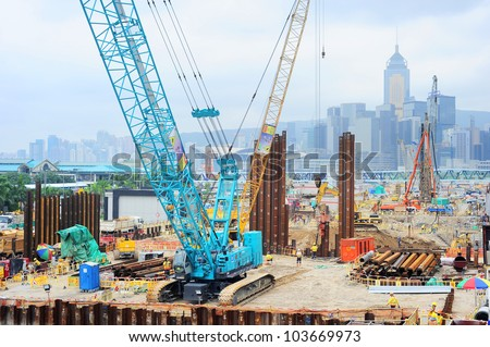 HONG KONG - MAY 21: Construction site on May 21, 2012 in  Hong Kong. Hong Kong is an international financial centre that has 112 buildings that stand taller than 180 metres.