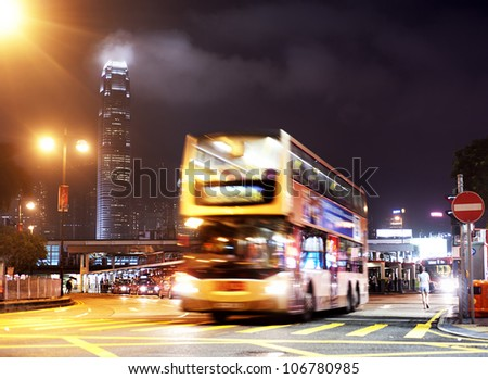 HONG KONG - MAY 20: Double - decker bus on May 20, 2012 in Hong Kong. Over 90% of the daily journeys are on public transport, making it the highest rate in the world.
