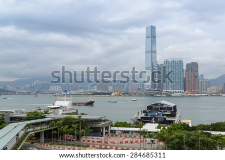 HONG KONG - MAY 30, 2015: International Commerce Centre in Hong Kong. ICC Tower is a 118-storey, 484 m commercial skyscraper completed in 2010 in West Kowloon, Hong Kong.